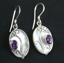 Amethyst White Mother Of Pearl Wire Earrings Sterling Silver .925