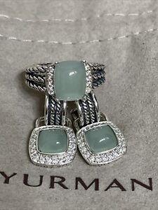 David Yurman SS Diamond & Chalcedony Earrings & Matching Ring.