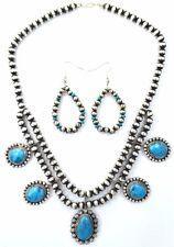 Native American Navajo Indian Jewelry SS Navajo Pearl Kingman Set