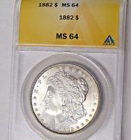 ANACS MS64 1882 Morgan Silver Dollar Philadelphia Mint