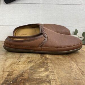 LL Bean Men's 14 Leather Elkhide Scuffs Brown Slip On Slippers House Shoe