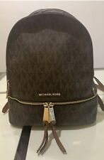 Michael Kors Logo MK Brown Zip Jet Set Messenger Leather Backpack