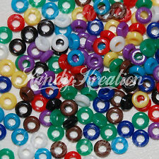 250 Bright Mini Pony Beads 6mm Spacer Donut for Kandi Rave Opaque Round Craft