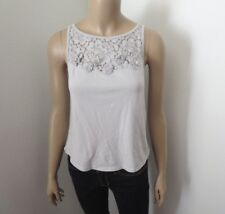 Hollister Womens Lace Flower Embellished Tank Top Size Small Light Gray