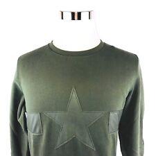 Diesel Crewneck Army Green Graphic Cotton Very Sweatshirt Pullover Men Small NWT