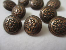 """9/16""""  15 mm Copper Tone Stamped Flower Dome Buttons - 10 pieces"""