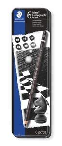 STAEDTLER Mars Lumograph Black Artist Pencils x 6 Premium Quality 100B G6