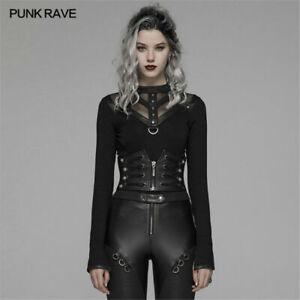 PUNK RAVE Women Black Punk Front Zipper Faux Leather Underbust Goth Waist Corset