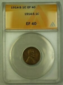 1914-S Lincoln Wheat Cent 1c ANACS EF-40 (WW)