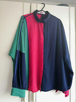 YARELL WOMENS BLUE RED GREEN BLOUSE SHIRT TOP SIZE 18 / 44 LONG SLEEVE BUTTONS