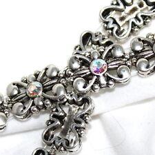 Metal Bracelet Bead Swarovski AB Crystal 10x15mm Two Hole Slider 12 Beads SB14