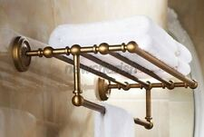 Antique Brass Wall Mounted Towel Holder Shelf Bathroom Storage Rack Rail nba087