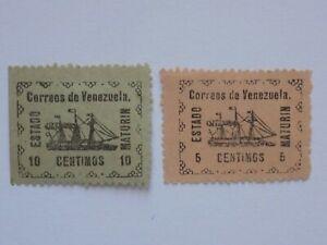 (2) mlh 1903 Venezuelan Maturin State stamps off paper - reprints