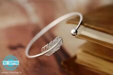 Silver Wire Wrap Feather Ball Open Cuff Bangle Adjustable Bracelet USA Gift