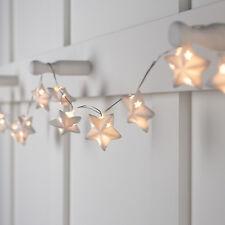 10er LED Sternen Lichterkette Keramik Timer Batterie Deko Weihnachts Beleuchtung