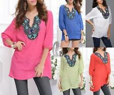 Cotton Solid Short Sleeve Casual Women's Tops & Blouses