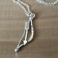 Bow and Arrow Necklace - 925 Sterling Silver - Archery Games Charm Pendant NEW