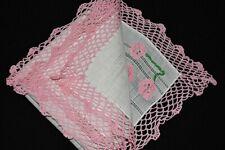 vintage handkerchief Hand great pink crochet Chic white linen Applied Flower