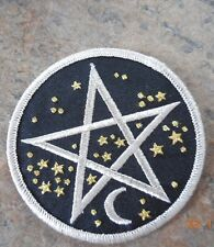 PENTAGRAM FABRIC CLOTHING PATCH IRON CRESCENT MOON STARS WICCA PAGAN ASTROLOGY