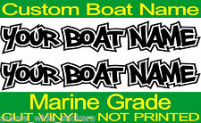 Fishing BOAT NAME Marine Vinyl Custom Decal Stickers PAIR 600mm