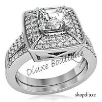 2.65 CT HALO PRINCESS CUT CZ STAINLESS STEEL WOMEN'S WEDDING ENGAGEMENT RING SET