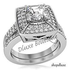 2.65 CT Halo Corte Princesa Cz Acero Inoxidable Para Mujer de bodas anillo de compromiso conjunto