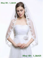 New 1T Handmade 90cm lace Edge white/ivory Bridal Wedding Veil With Comb