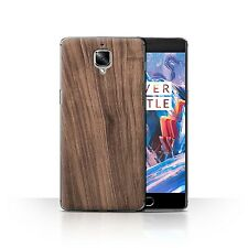 STUFF4 Case/Cover for OnePlus 3/Wood Grain Effect/Pattern/Walnut