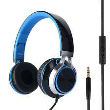 RockPapa Over Ear Foldable Headphones Headsets Mic for iPhone Samsung Blue Black