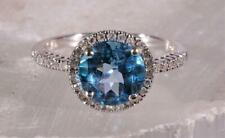 Diamond Halo Topaz Ring 14K White Gold Size 7