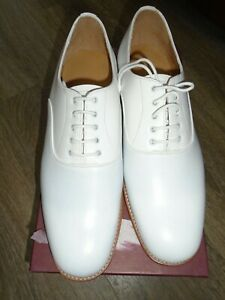 ROYAL NAVY MENS WHITE LEATHER TROPICAL SHOES SIZE 11M GENUINE ROYAL NAVY ISSUE