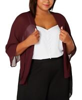 SLNY Womens Jacket Purple 3X/ 4X Plus Sheer Open Front Bolero Shrug $39 227