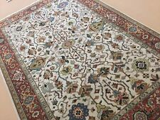 Persian Oriental Rug Beige Rust Serapi Hand Knotted New Wool Geometric 6' x 9'
