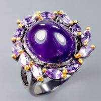 Handmade8ct+ Natural Amethyst 925 Sterling Silver Ring Size 7.25/R121063