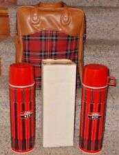 New / Vintage 70's Plaid Picnic Lunch Thermoses & Sandwich Box Never Used New