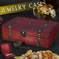 🔥 Vintage Retro Wooden Storage Box Jewelry Wood Gift Case with Lock Home  r
