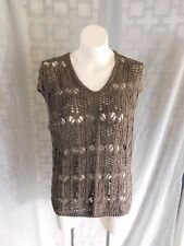 Lafayette 148 Solid Brown Open Crochet Knit V-Neck Cap Sleeve Sweater Top - M