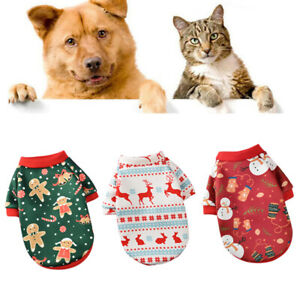 Christmas Cats Clothes Pet Hoodies For Small Dog Vest Shirt Puppy Costume Outfit