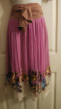 TRACY REESE NEW YORK EMBROIDERY FLOWERS SILK  MAXI SKIRT 4 S RARE