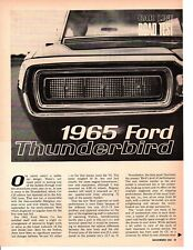1965 FORD THUNDERBIRD 390/300 HP  ~  ORIGINAL 5-PAGE ROAD TEST / ARTICLE / AD