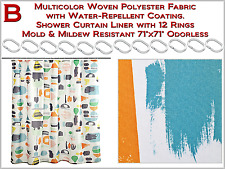 "Multicolor Shower Curtain with 12 Rings Mold & Mildew Resistant Odorless 71""x71"""