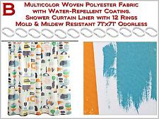 Multicolor Cortina de Ducha con 12 Anillos Molde & Moho Resistente Inodoro