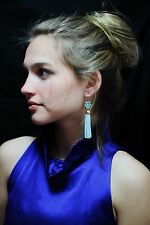 Kate Spade 'lovely lilies' beaded fringe tassel earrings Turquoise Blue aqua