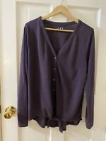 LOFT Women's Size L Super Soft Baggy Purple Top Long Sleeve Button Jersey