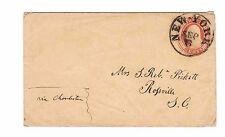 Nesbitt, U10, Postal Stationery, New York to Rossville, SC, 1850s