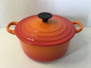 Le Creuset 2 QT. Orange Dutch Oven With Lid Round B