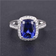 Christmas Gift! AAAA+ Blue Tanzanite Solid 18K White Gold Full Cut Diamond Ring