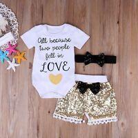 3PCS Newborn Infant Baby Girls Outfit Clothes Romper Jumpsuit Bodysuit+Pants Set