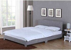 Vida Designs Victoria Double 4FT 6 Bed with Headboard Light Grey Linen