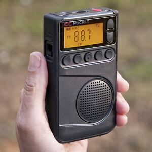 C Crane AM FM and NOAA Weather Pocket Radio with Clock & Sleep Timer